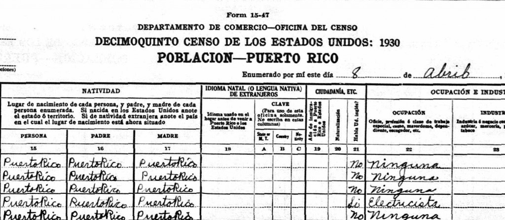 Puerto Rico 1930 United States Census